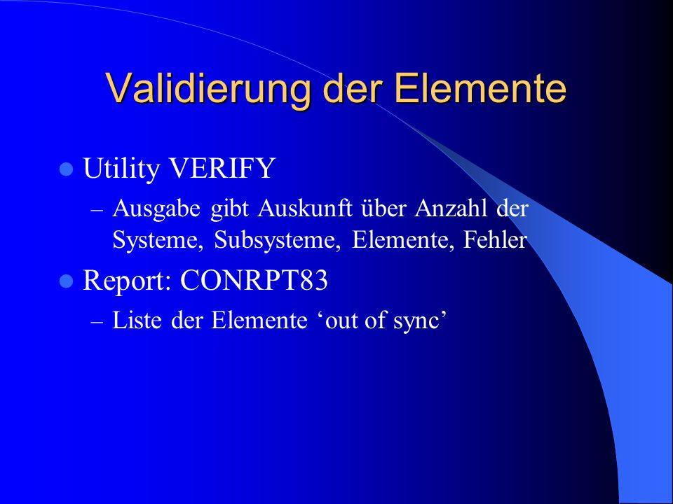 Validierung der Elemente
