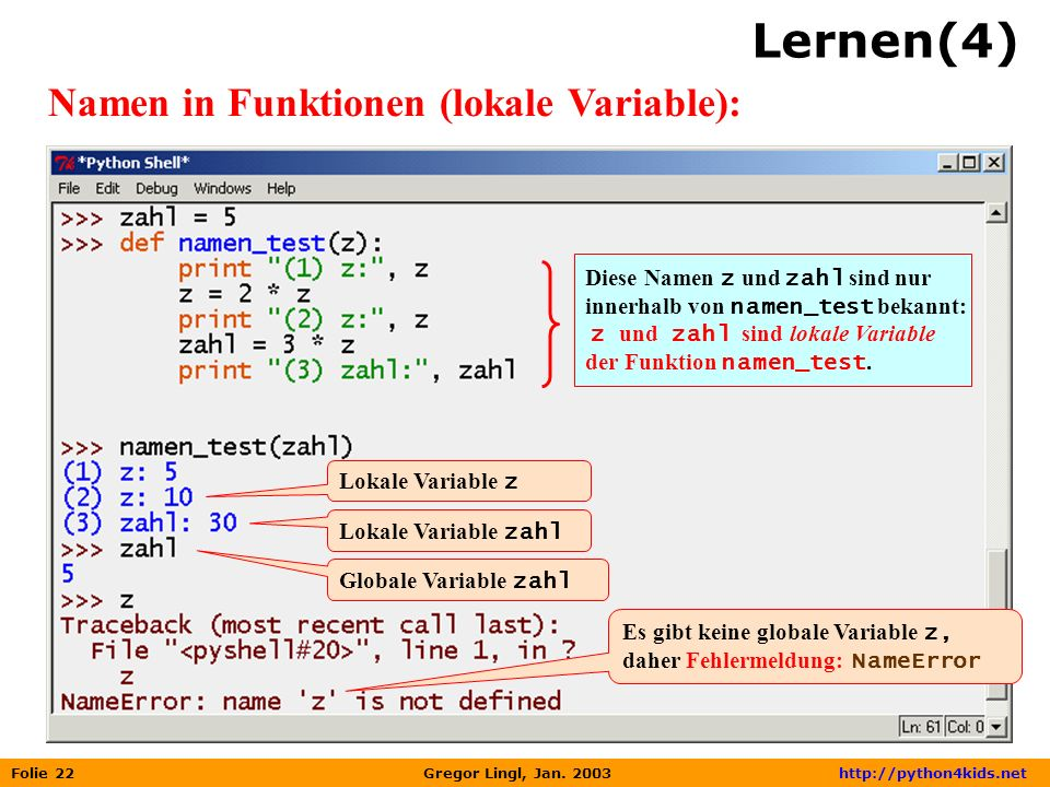Lernen(4) Namen in Funktionen (lokale Variable):
