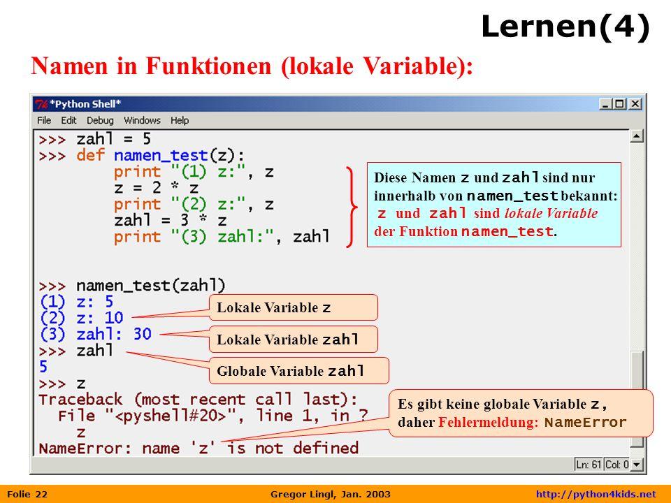 Lernen(4) Namen in Funktionen (lokale Variable):