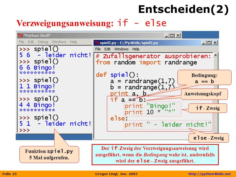 Entscheiden(2) Verzweigungsanweisung: if - else Bedingung: a == b