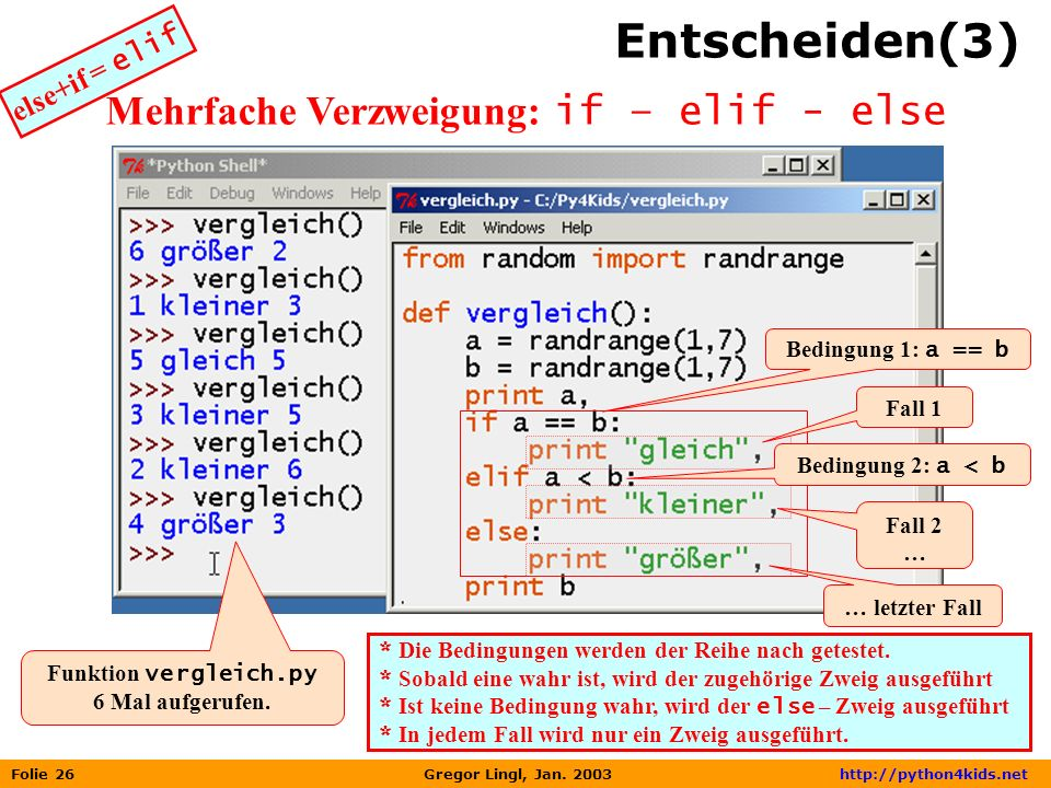 Entscheiden(3) Mehrfache Verzweigung: if – elif - else else+if = elif