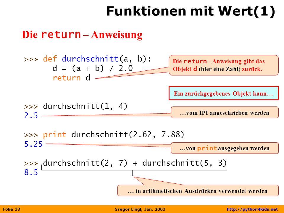 Funktionen mit Wert(1) Die return – Anweisung