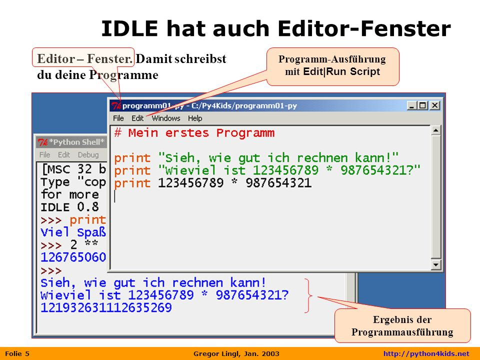 IDLE hat auch Editor-Fenster