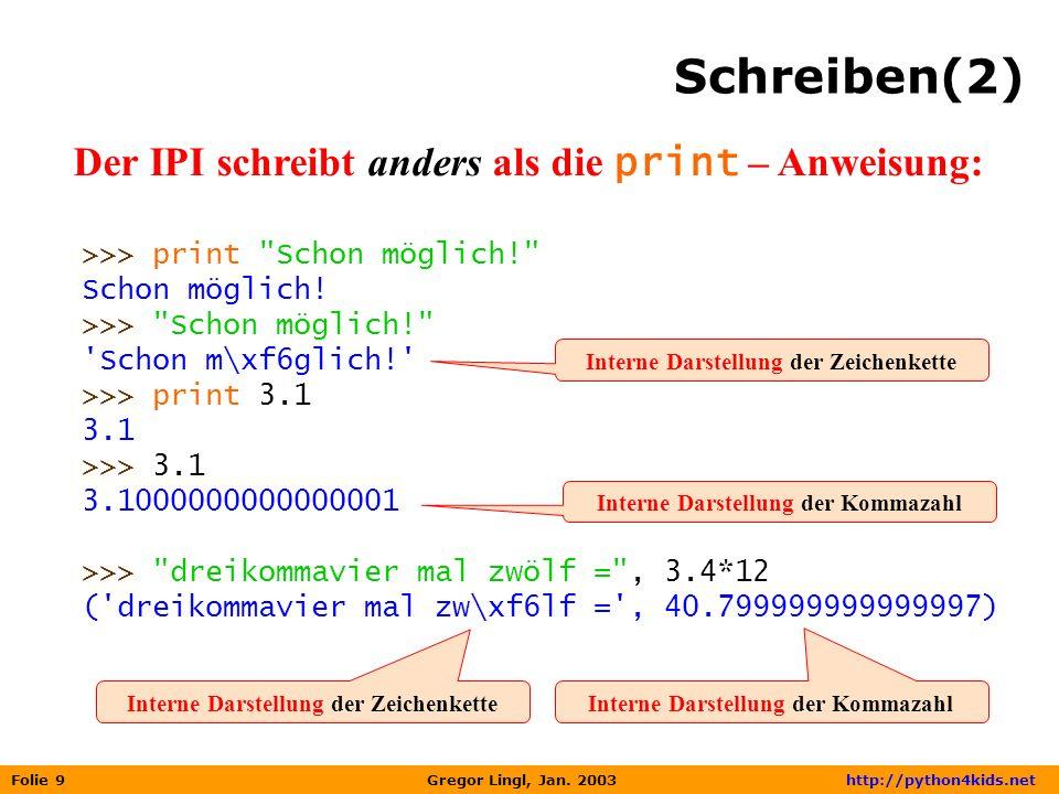Schreiben(2) Der IPI schreibt anders als die print – Anweisung: