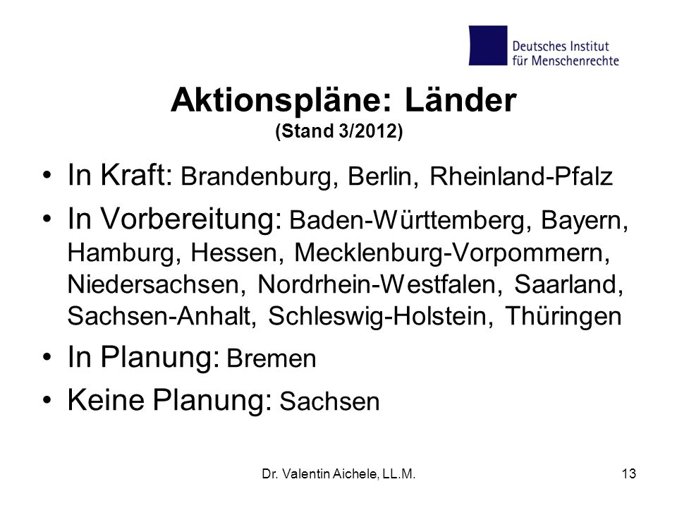 Aktionspläne: Länder (Stand 3/2012)