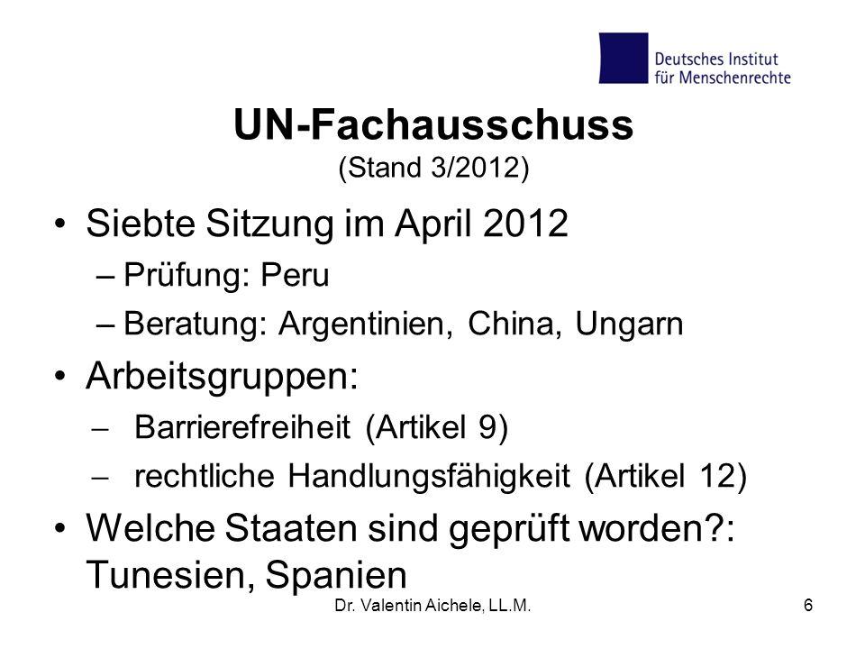 UN-Fachausschuss (Stand 3/2012)