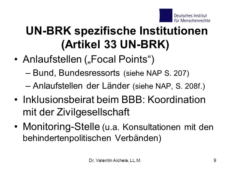 UN-BRK spezifische Institutionen (Artikel 33 UN-BRK)