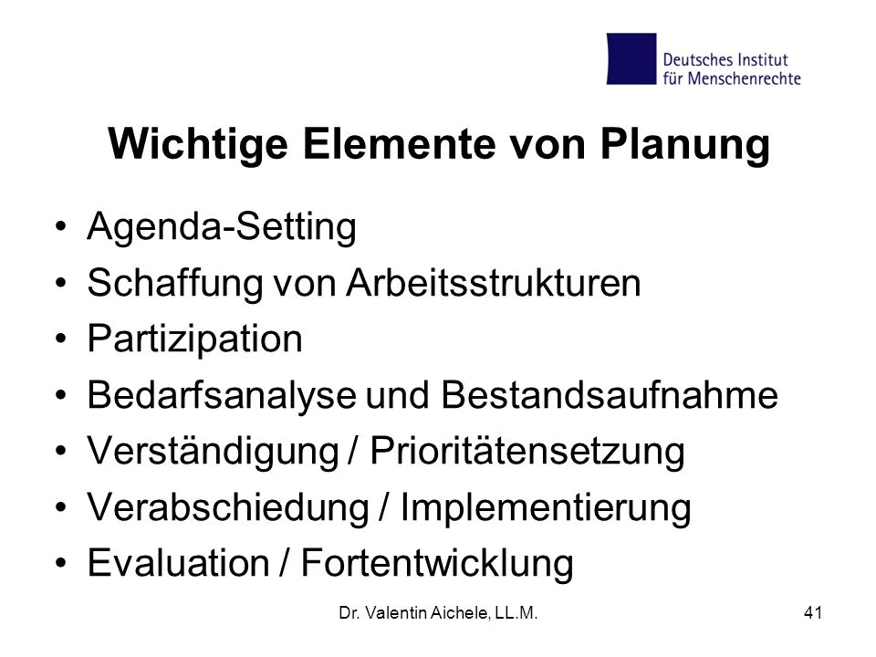 Wichtige Elemente von Planung