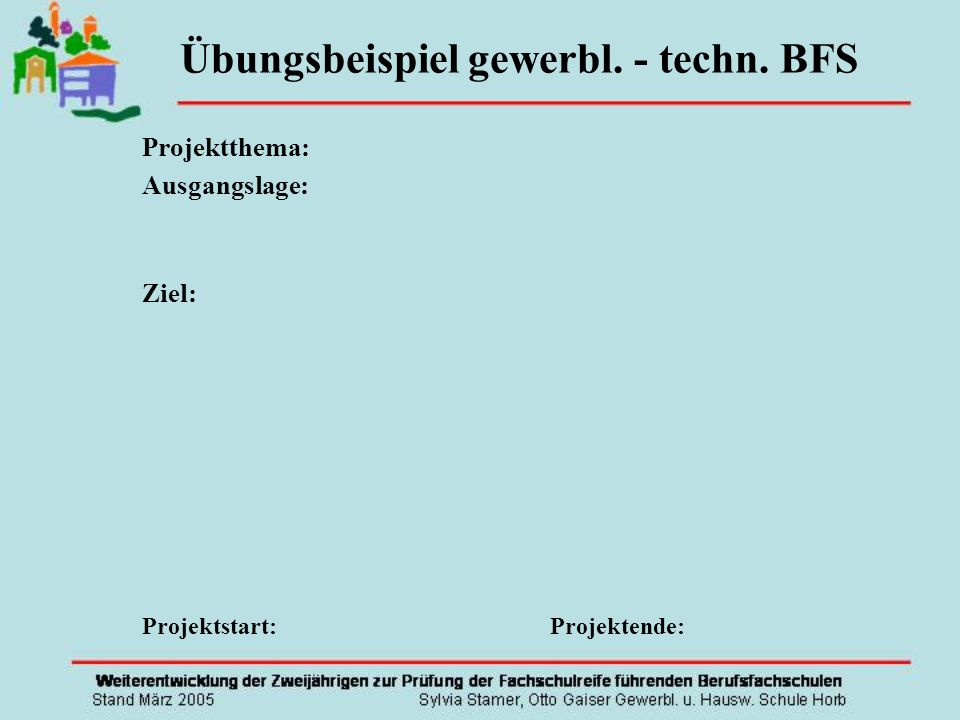 Übungsbeispiel gewerbl. - techn. BFS