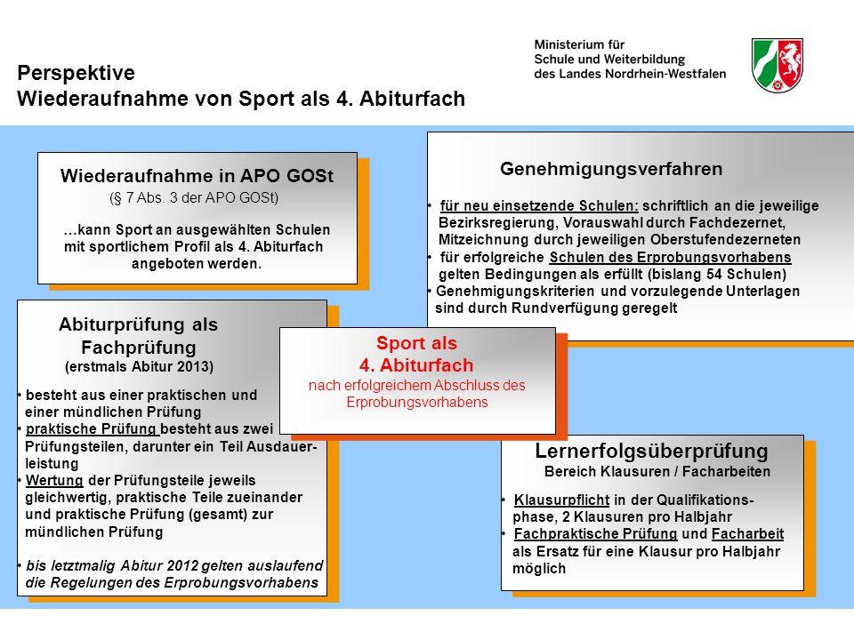 Perspektive Wiederaufnahme von Sport als 4. Abiturfach