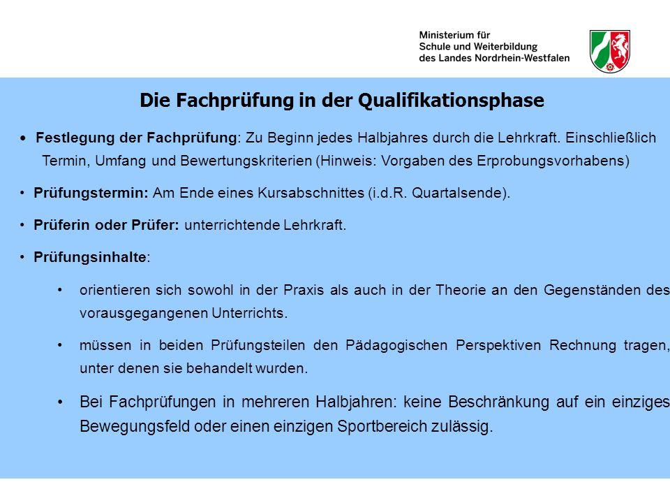 Die Fachprüfung in der Qualifikationsphase
