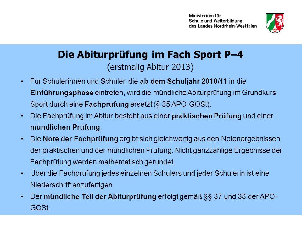 Die Abiturprüfung im Fach Sport P–4