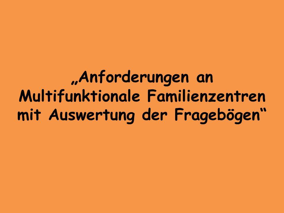 """""""Anforderungen an Multifunktionale Familienzentren mit Auswertung der Fragebögen"""