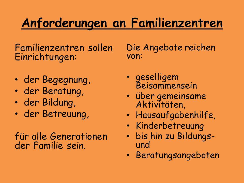 Anforderungen an Familienzentren