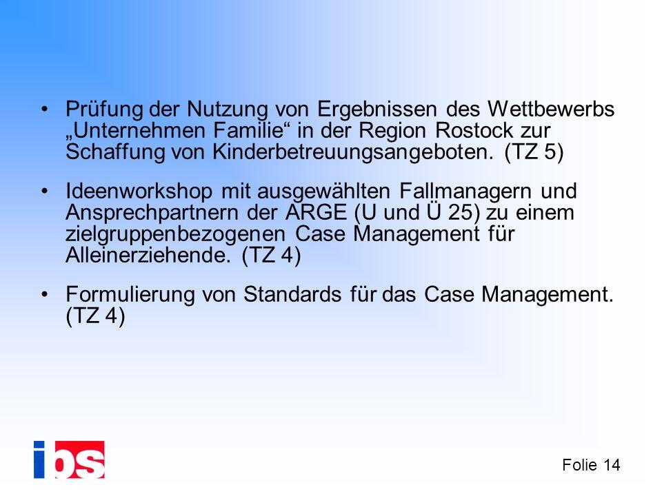 """Prüfung der Nutzung von Ergebnissen des Wettbewerbs """"Unternehmen Familie in der Region Rostock zur Schaffung von Kinderbetreuungsangeboten. (TZ 5)"""