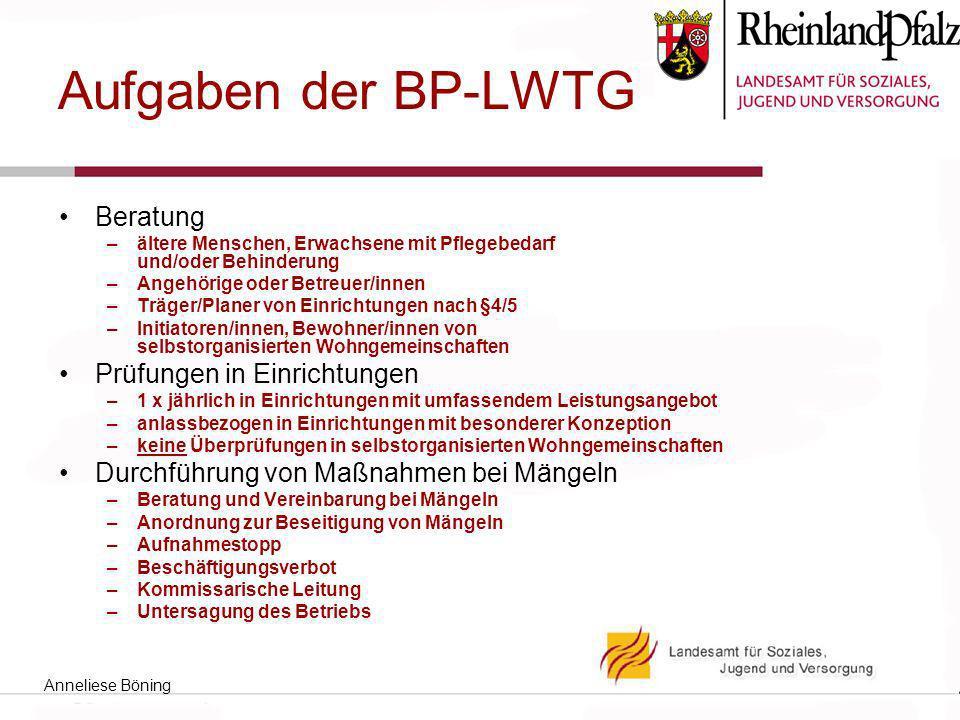 Aufgaben der BP-LWTG Beratung Prüfungen in Einrichtungen