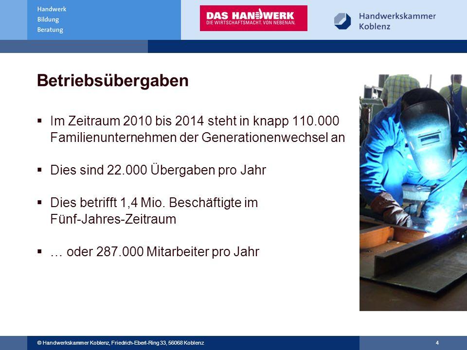 Betriebsübergaben Im Zeitraum 2010 bis 2014 steht in knapp 110.000 Familienunternehmen der Generationenwechsel an.