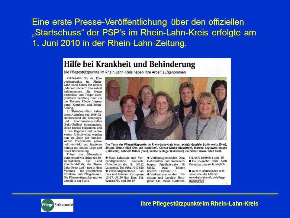 """Eine erste Presse-Veröffentlichung über den offiziellen """"Startschuss der PSP's im Rhein-Lahn-Kreis erfolgte am 1. Juni 2010 in der Rhein-Lahn-Zeitung."""