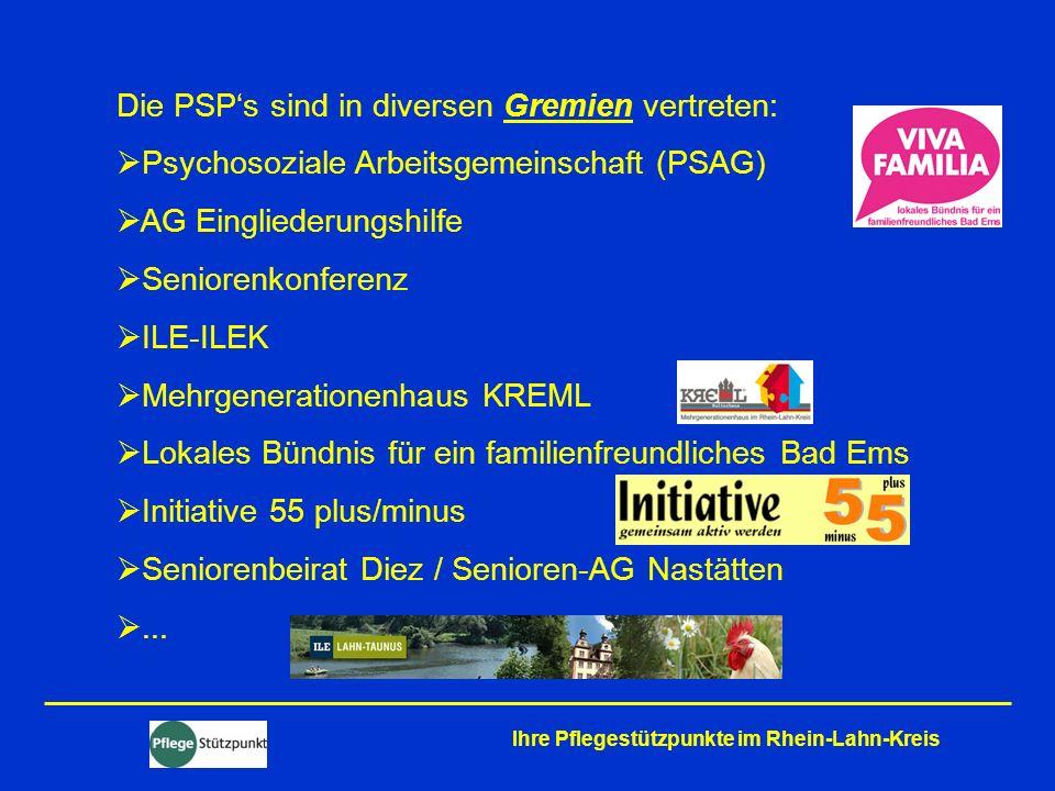 Die PSP's sind in diversen Gremien vertreten: