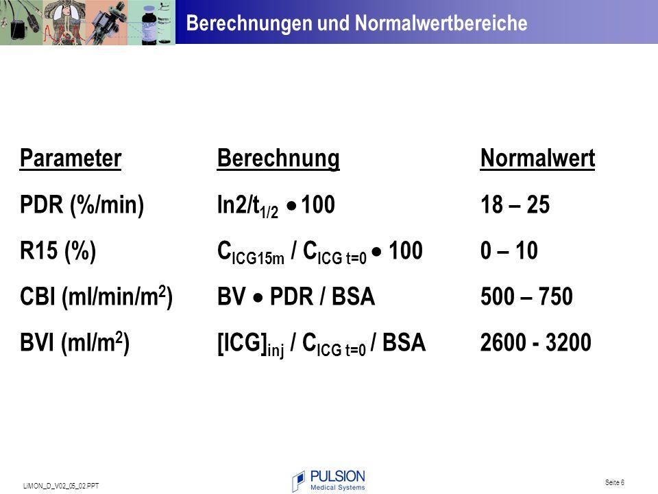Parameter Berechnung Normalwert PDR (%/min) ln2/t1/2  100 18 – 25