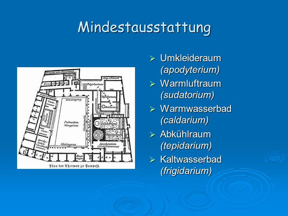 Mindestausstattung Umkleideraum (apodyterium)