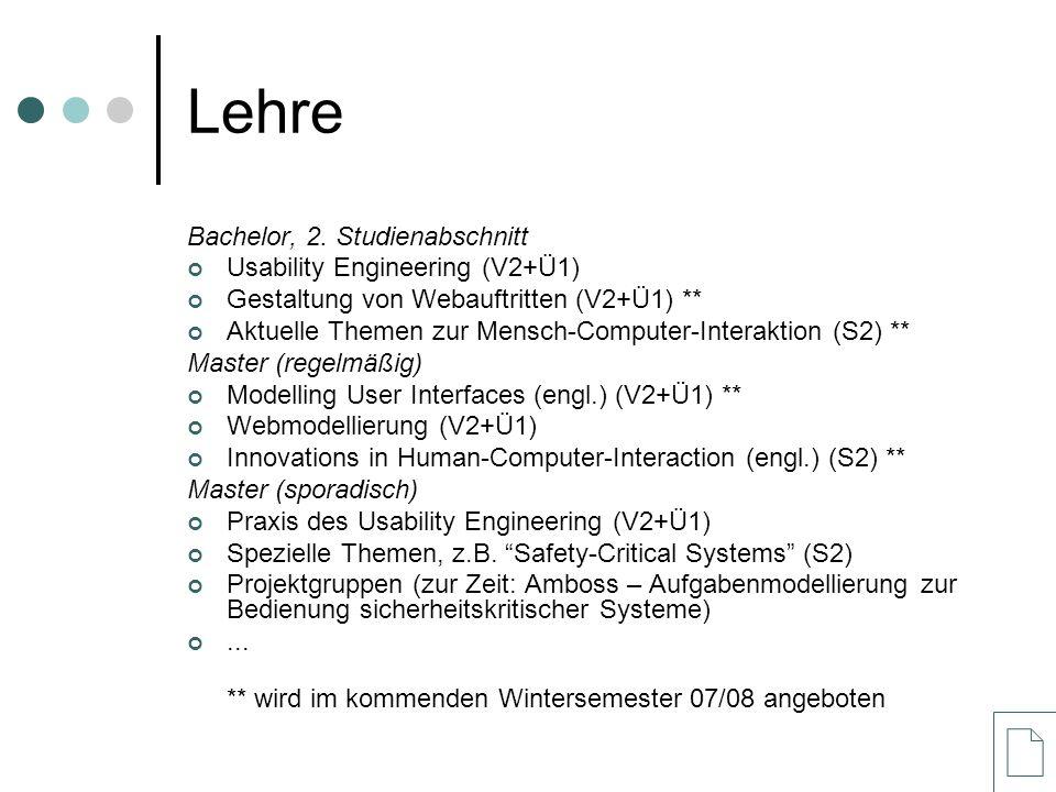 Lehre Bachelor, 2. Studienabschnitt Usability Engineering (V2+Ü1)