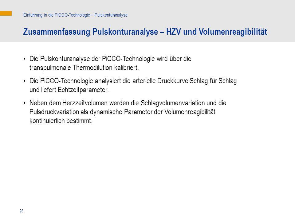 Zusammenfassung Pulskonturanalyse – HZV und Volumenreagibilität