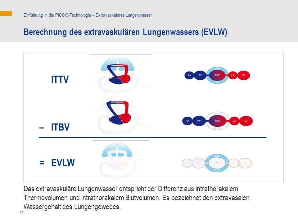 ITTV – ITBV = EVLW Berechnung des extravaskulären Lungenwassers (EVLW)