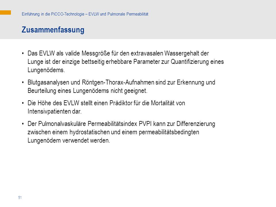 Einführung in die PiCCO-Technologie – EVLW und Pulmonale Permeabilität
