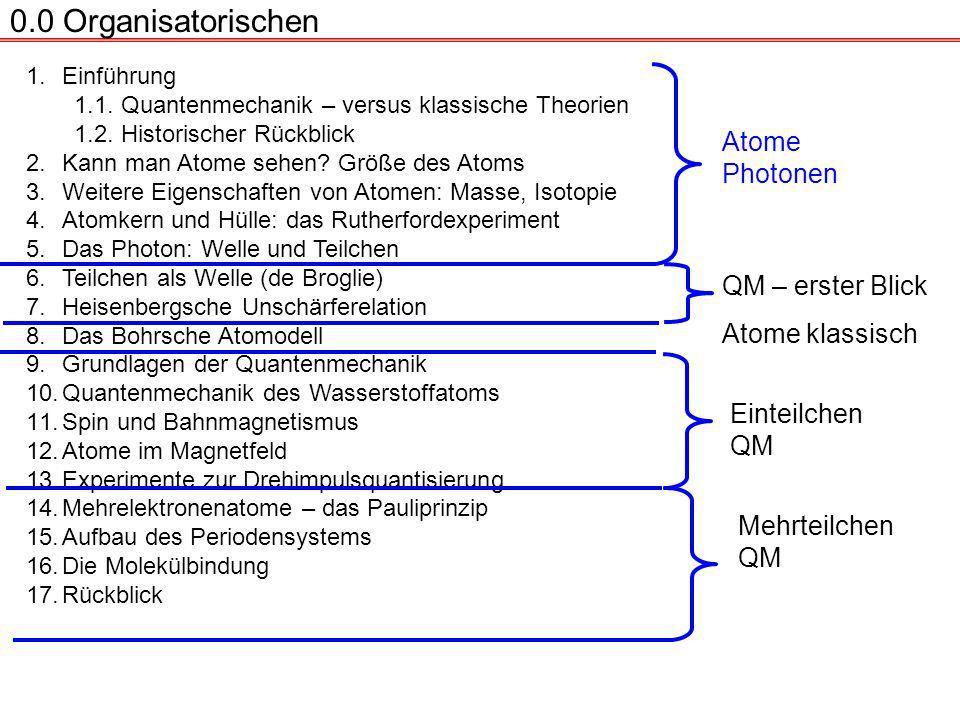 0.0 Organisatorischen Atome Photonen QM – erster Blick Atome klassisch