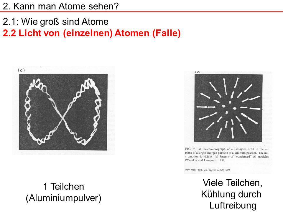 2. Kann man Atome sehen 2.1: Wie groß sind Atome. 2.2 Licht von (einzelnen) Atomen (Falle) Viele Teilchen,