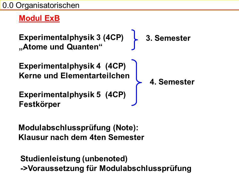 "0.0 Organisatorischen Modul ExB. Experimentalphysik 3 (4CP) ""Atome und Quanten Experimentalphysik 4 (4CP)"