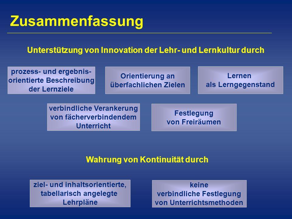 Zusammenfassung Unterstützung von Innovation der Lehr- und Lernkultur durch. prozess- und ergebnis- orientierte Beschreibung der Lernziele.