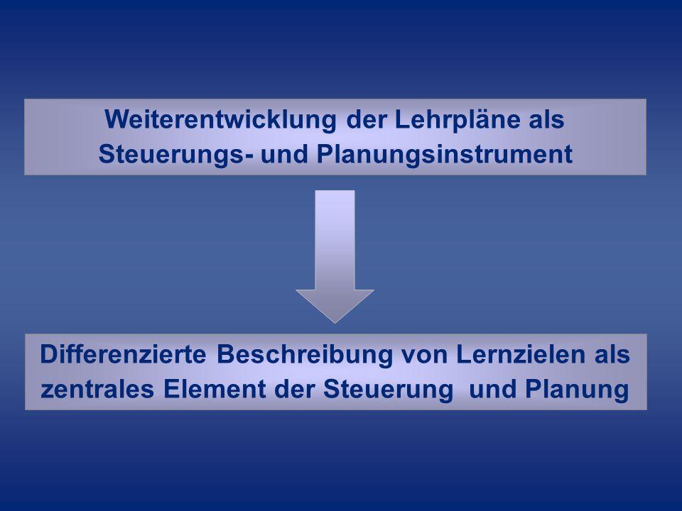 Weiterentwicklung der Lehrpläne als Steuerungs- und Planungsinstrument