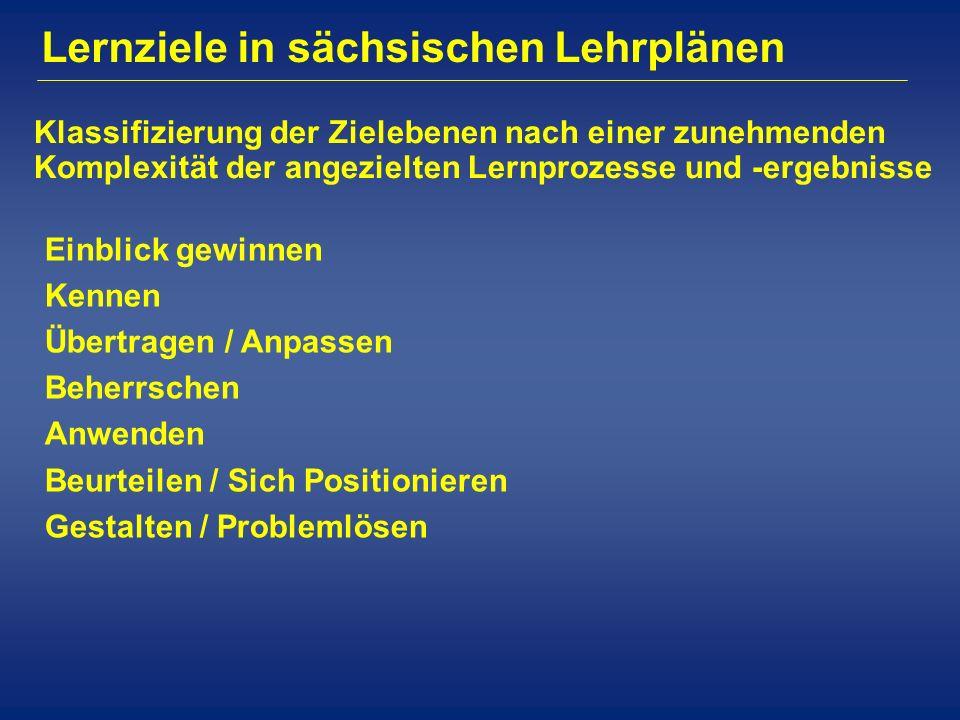 Lernziele in sächsischen Lehrplänen