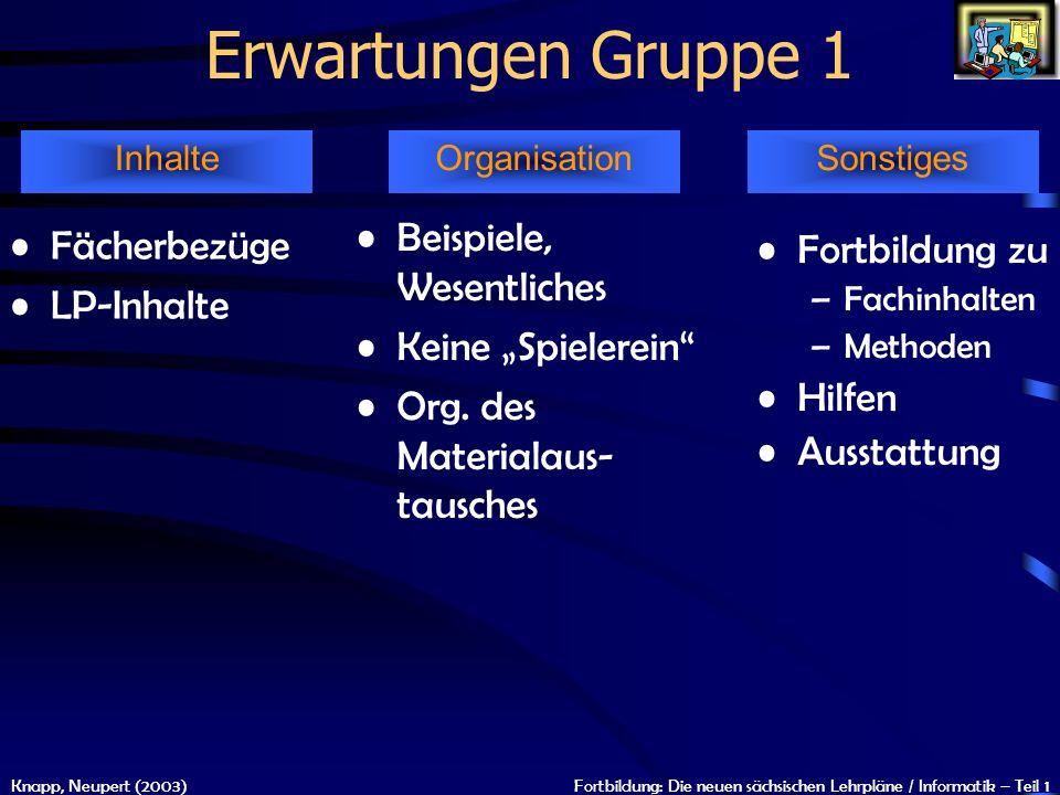 Erwartungen Gruppe 1 Beispiele, Wesentliches Fächerbezüge