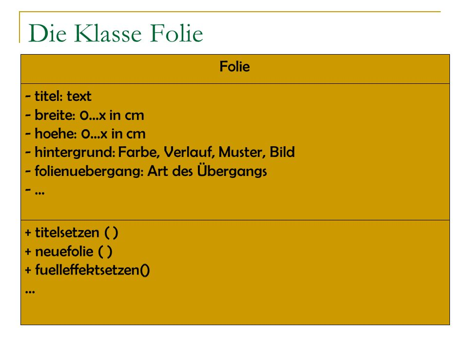 Die Klasse Folie Folie titel: text breite: 0…x in cm hoehe: 0…x in cm