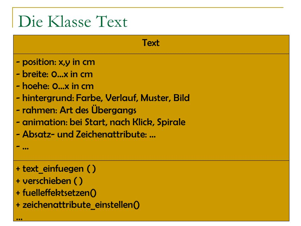 Die Klasse Text Text position: x,y in cm breite: 0…x in cm