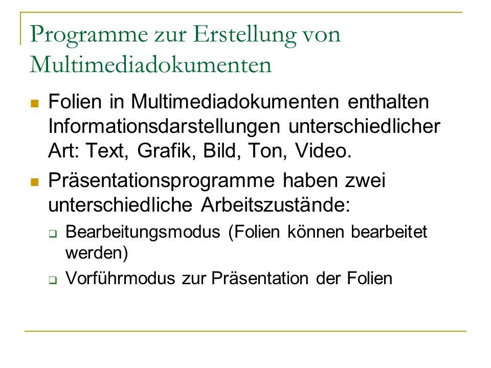 Programme zur Erstellung von Multimediadokumenten