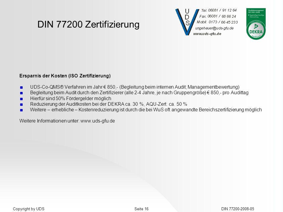 Ersparnis der Kosten (ISO Zertifizierung)