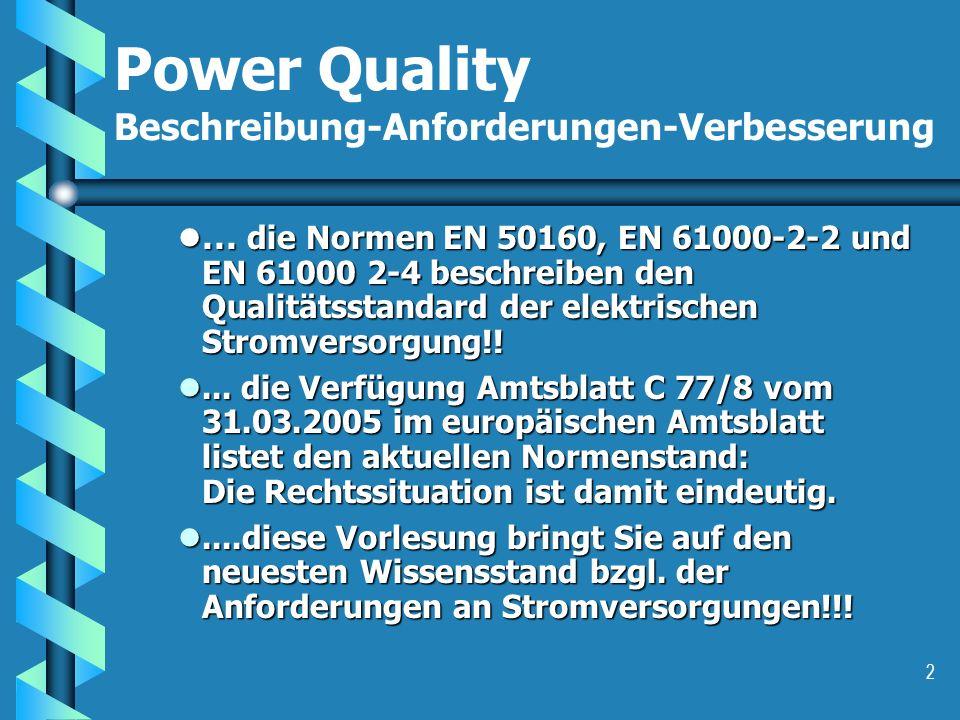 Power Quality Beschreibung-Anforderungen-Verbesserung
