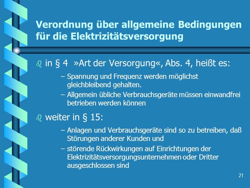 Verordnung über allgemeine Bedingungen für die Elektrizitätsversorgung