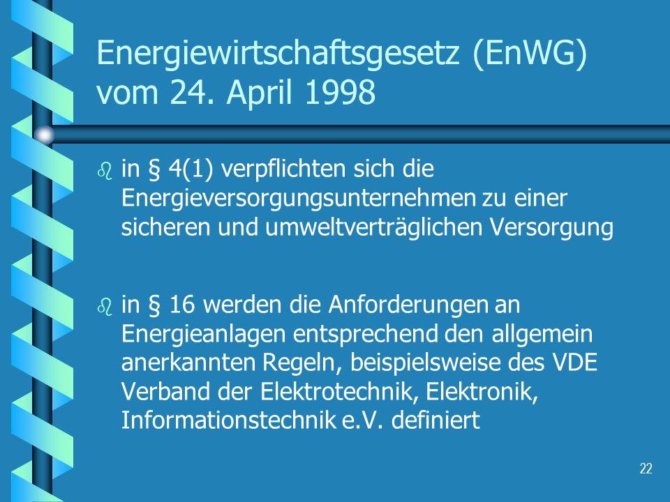 Energiewirtschaftsgesetz (EnWG) vom 24. April 1998