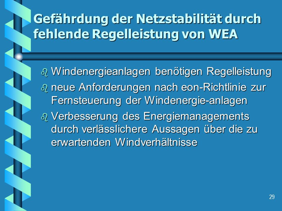 Gefährdung der Netzstabilität durch fehlende Regelleistung von WEA