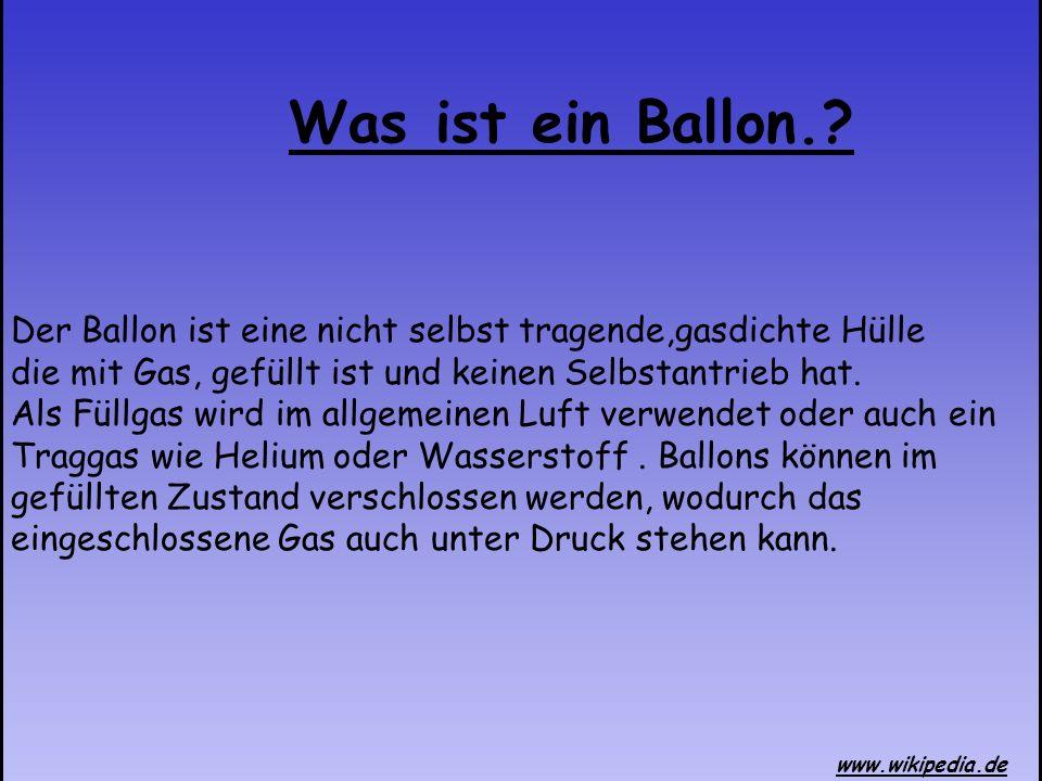 Der Ballon ist eine nicht selbst tragende,gasdichte Hülle