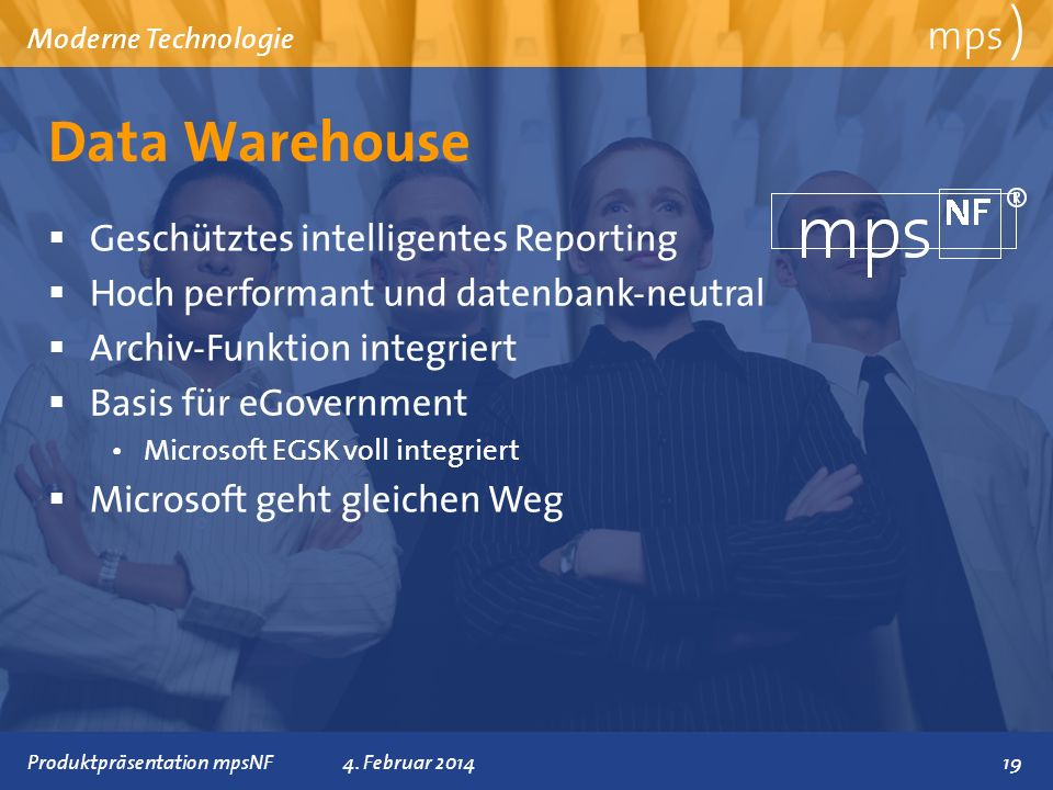 Data Warehouse mps ) Geschütztes intelligentes Reporting