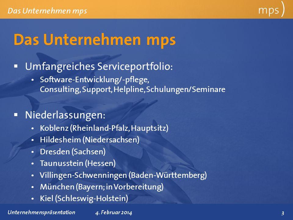 Das Unternehmen mps mps ) Umfangreiches Serviceportfolio: