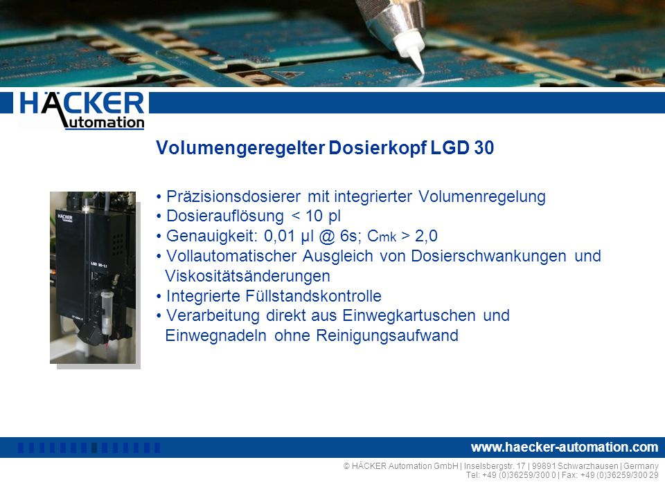 Volumengeregelter Dosierkopf LGD 30
