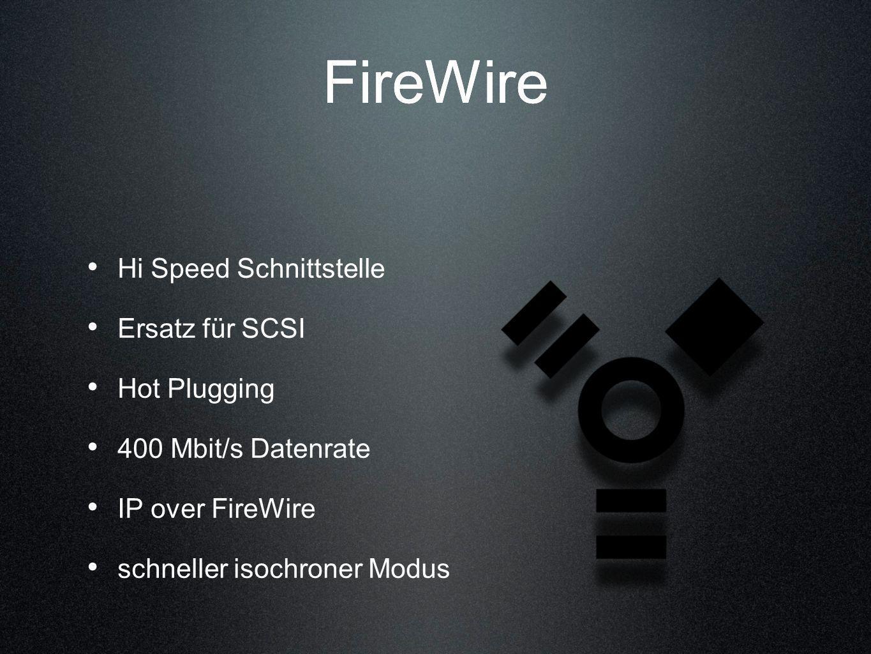 FireWire FireWire Hi Speed Schnittstelle Ersatz für SCSI Hot Plugging