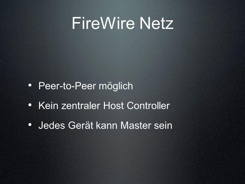 FireWire Netz Peer-to-Peer möglich Kein zentraler Host Controller